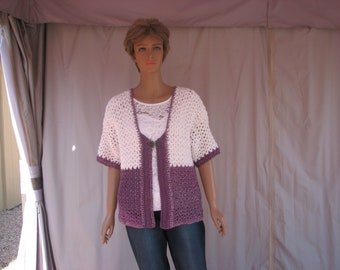 Crochet Purple and White Short Sleeve Sweater
