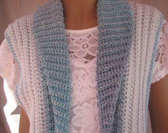 Crochet Artic Ice and Blue Vest