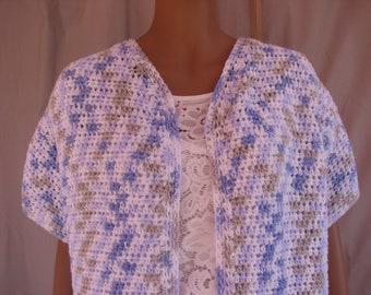 Crochet Pastel Blue, Gray and White Varigated Short Sleeve Sweater