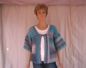 Crochet Blue Gray Varigated Short Sleeve Sweater