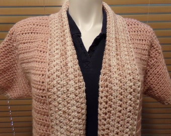 Rose (Blush) with Rose Varigated Crochet Short Sleeve Sweater