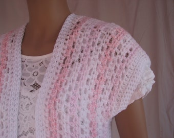 Crochet Pink and White Striped Duster