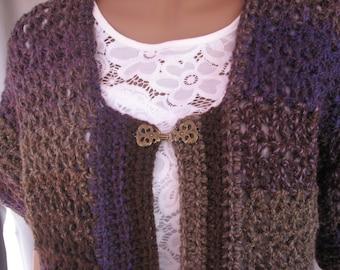 Crochet Purple Varigated Short Sleeve Sweater