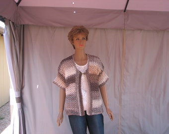 Crochet Brown Varigated Short Sleeve Sweater