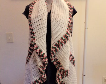 White with Christmas Trim Crochet Circular