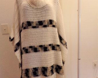 Cream with Tan, Black, Gray Varigated Stripe Turtleneck Crocheted Poncho