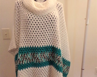 White with Teal Varigated Stripe Turtleneck Crocheted Poncho