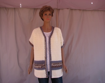 Crochet Antique White w/ Brown and Blue Stripe Short Sleeve Sweater