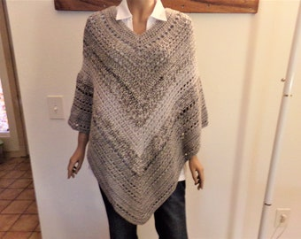 Gray Varigated Crocheted Summer Poncho
