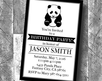 diy black white panda birthday party decorations banner etsy