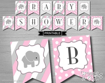 Pink Elephant Baby Shower Banner Girl Printable Digital PDF Instant Download Baby Shower Bunting Flags Garland in Pink Gray Elephant Theme