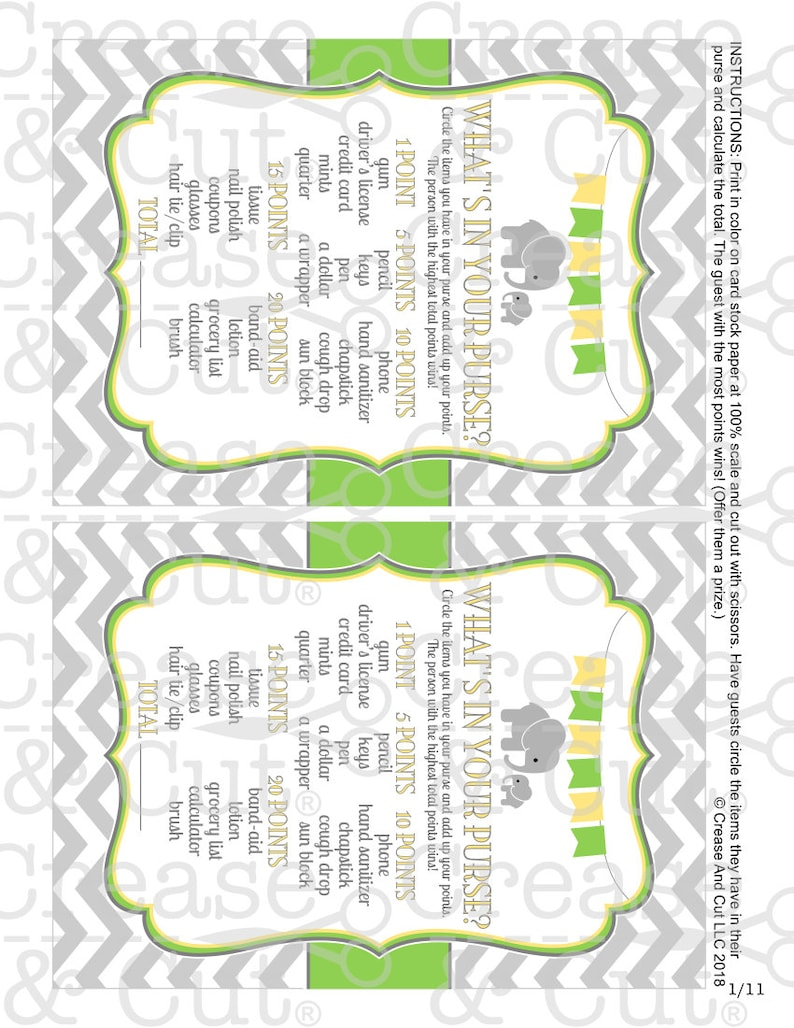 DIY Lime Green Yellow Grey Baby Elephant Baby Shower Decorations and Games  Digital Package Printable PDFs Instant Download Gender Neutral