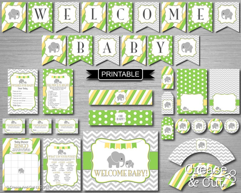 Diy Lime Green Yellow Grey Baby Elephant Baby Shower Etsy