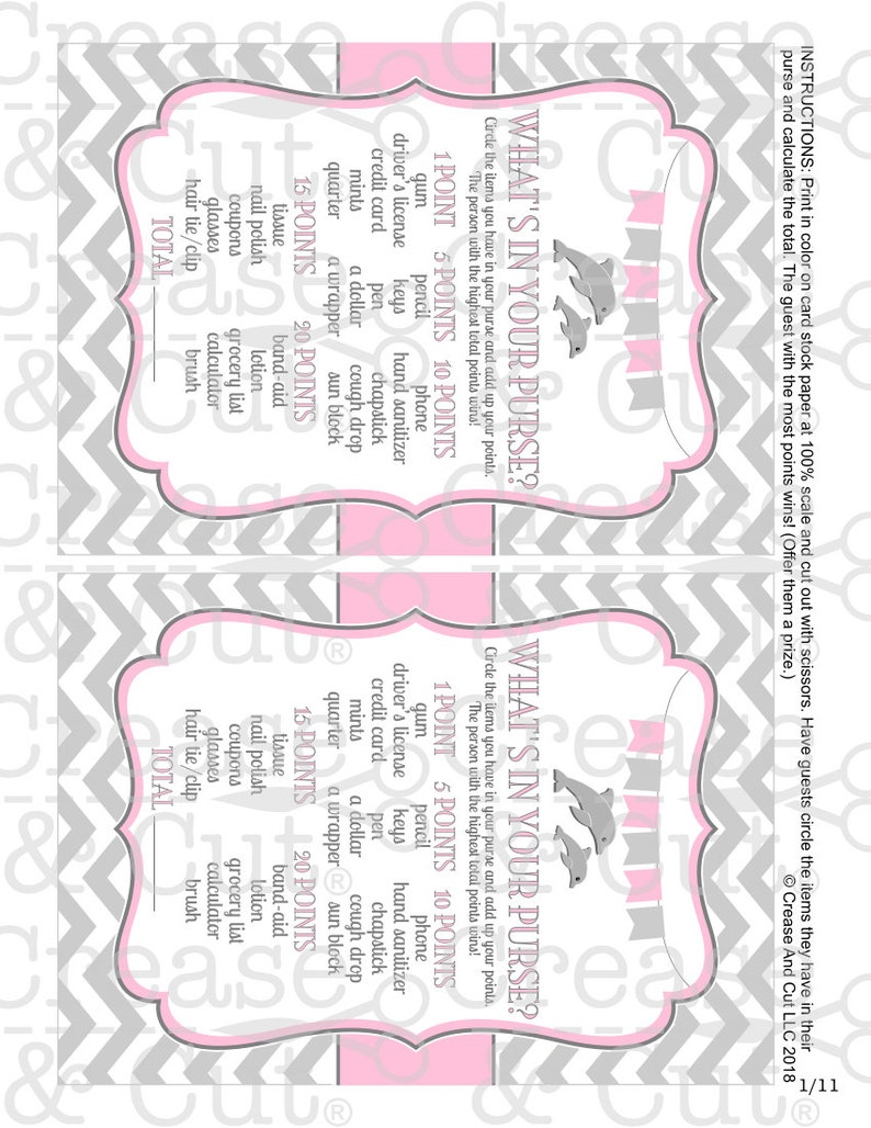 DIY Printable Dolphin Baby Shower Decorations and Games Package in Pink and  Gray Girl Baby Shower Printable PDFs Instant Download