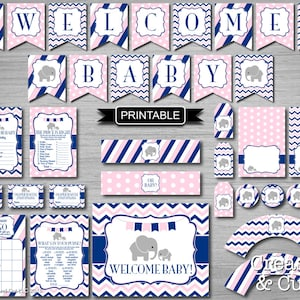 Stag Deer Baby Shower Banner Baby Shower Games Printable PDFs Instant Download Water Bottle Wrappers Food Labels Cupcake Toppers It/'s A Boy
