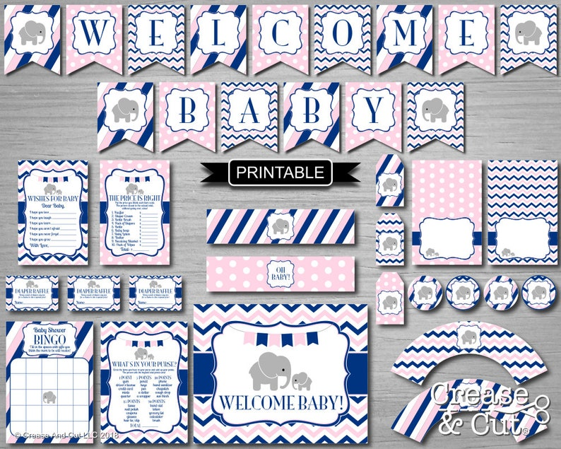 Light Pink And Navy Blue Elephant Baby Shower Decorations And Games Package Digital Printable Pdfs Instant Download Welcome Baby