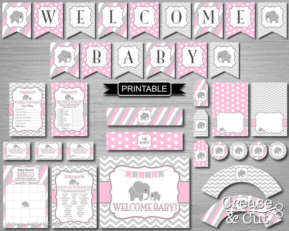 Pink Gray Girl Elephant Baby Shower Decorations And Games Package Digital Printable Elephant Theme Shower Pdfs Instant Download Welcome Baby