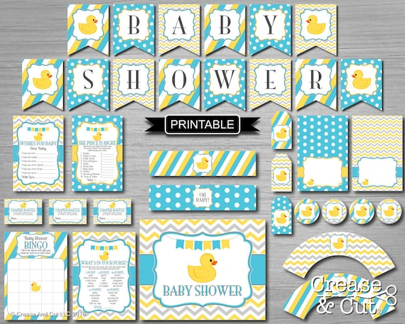 Diy Rubber Duck Baby Shower Decorations And Games Digital Pdf Package Instant Download In Turquoise Blue Yellow Gray Girl Boy Gender Neutral