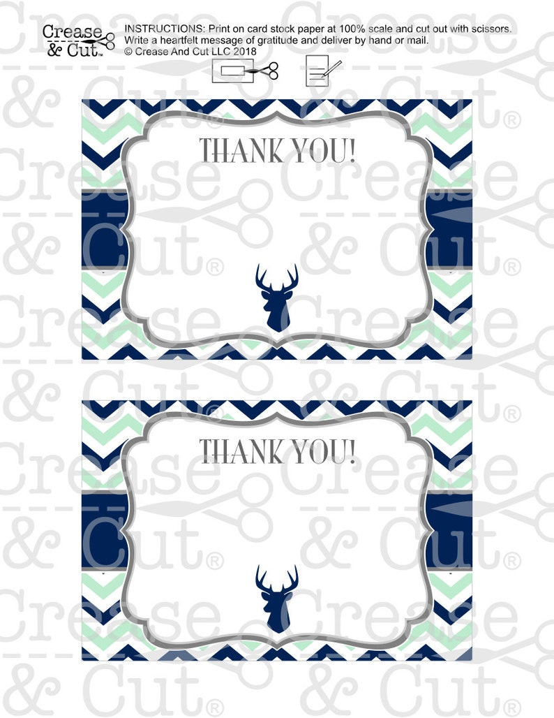 Mint Green Dark Navy Blue Deer Blank Thank You Cards Digital PDF Instant Download for Deer Themed Boy Baby Shower
