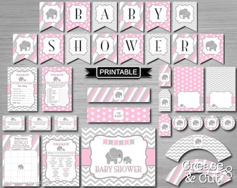 Pink and Gray Chevron Girl Elephant Baby Shower Decorations and Games Package Digital Printables Elephant PDFs Instant Download-Baby Shower