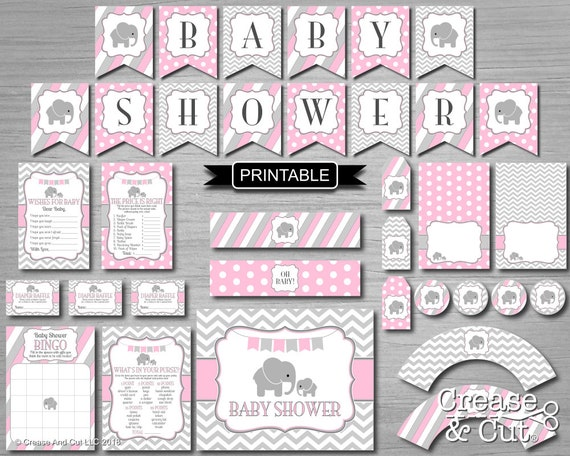 Pink And Gray Chevron Girl Elephant Baby Shower Decorations Etsy