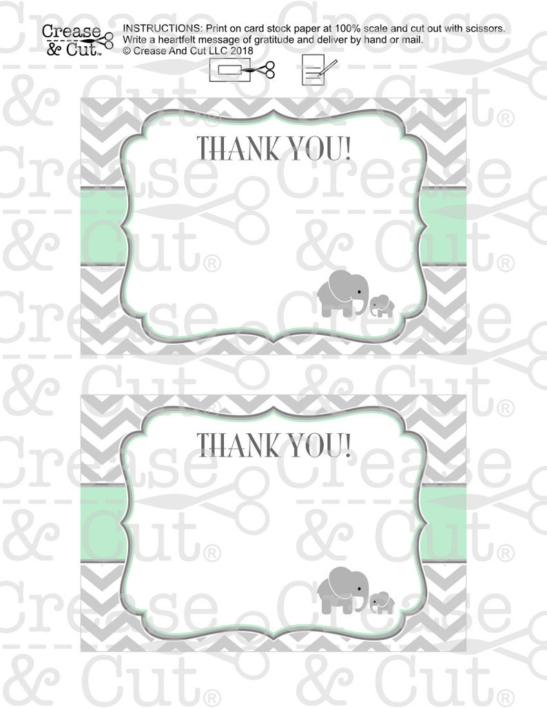 Printable Elephant Thank You Cards in Mint Green and Gray Baby Shower Elephant Themed Party Digital Stationary Template PDF Instant Download