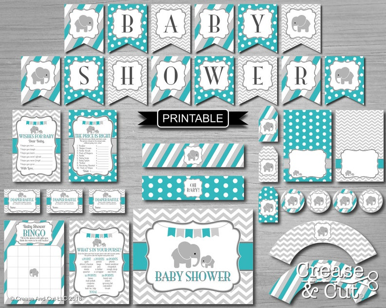 Teal Green Grey Elephant Baby Shower Decorations Package Etsy