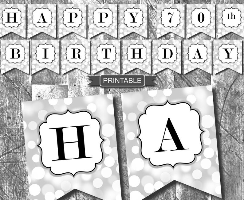 Silver And Black Sparkle Happy 70th Birthday Banner Party