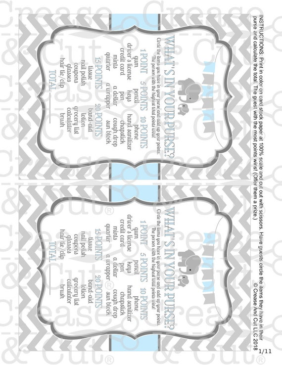 DIY Little Peanut Elephant Baby Shower Decorations Banner and Games Digital  Package Baby Blue Gray Printable Elephant PDFs Instant Download