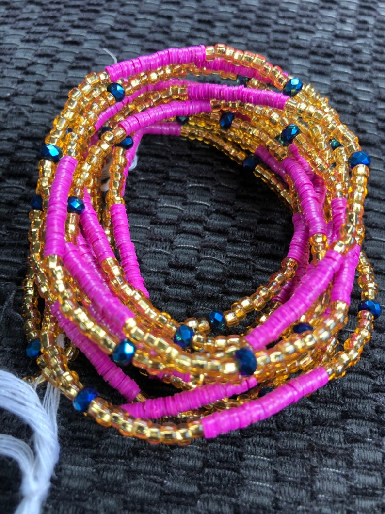 Purple and Gold waist Beads-African waist Beads-Glass Seed Beads-Ghana Beads-Belly Chain-African Necklace With Clasp