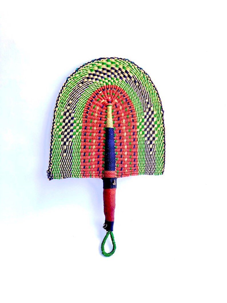African Hand Fan with Leather Handle or Wall Hanging Art