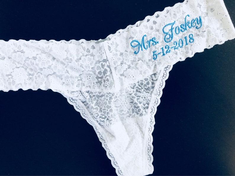 f75d8d7e81e3 Mrs underwear Bridal Lingerie MRS Bride Thongs Monogram | Etsy