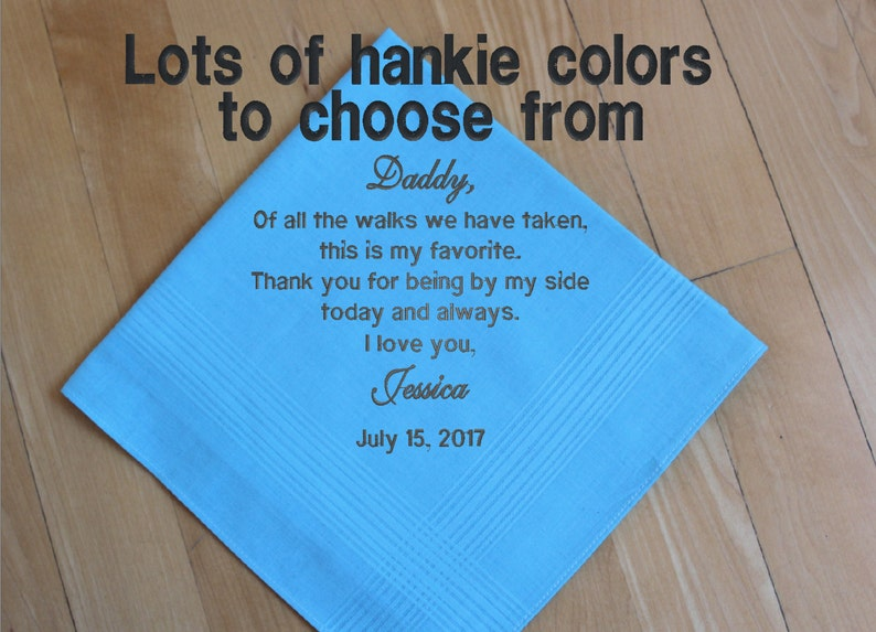 Father of the Bride Wedding Handkerchief, Custom Embroidery, pocket square,  Personalized dad gift, Thank you gift