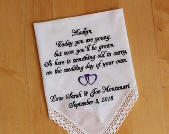 Flower Girl Gift, flower girl handkerchief, Embroidered, intertwine Heart design, Custom Gift, Wedding Hanky, personalize, Canada, LS0F38