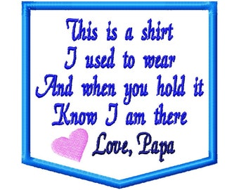 Instant Download Embroidery Design: Memory Pillow Applique. Shirt I Used To Wear. Memorial Applique.  In Memory Embroidery Design 4x4