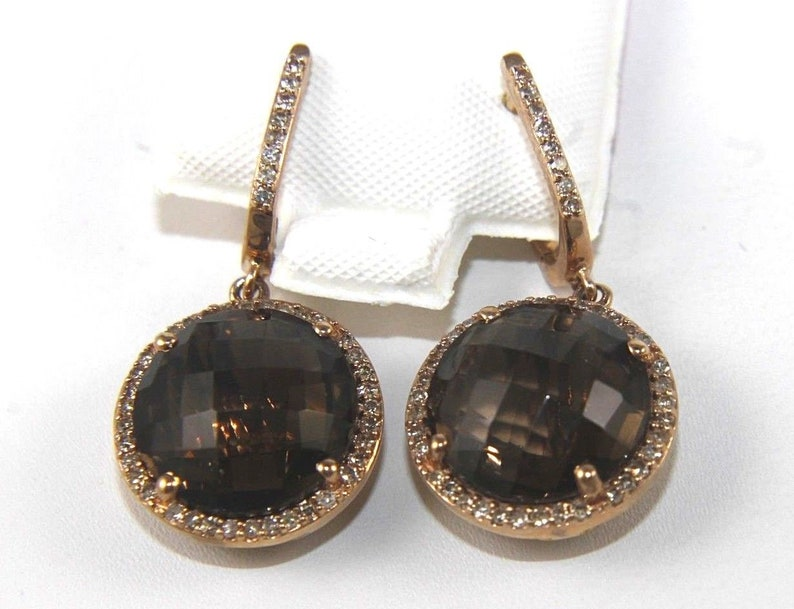 ce434677bd756 Round Brown Topaz & Diamond Halo Drop Dangle Earrings 14K Rose Gold 10.95Ct