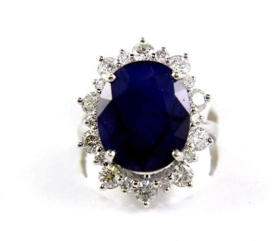 14K Gold Over 1.90 Ct Oval Halo Vintage Blue Sapphire Diamond Engagement Fashion
