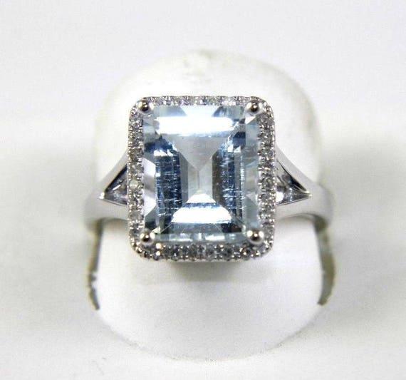 Aquamarine Ring Diamond Engagement White Gold Emerald Cut Cluster Appraisal