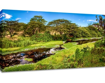 Tropical scenery canvas wide print. Green blue wall art river framed. Nature picture panorama. Bedroom decor relaxing landscape photography.
