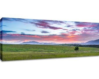 Panoramic tropical wall art canvas. Colorful sunrise framed wide print. Bedroom decor pink blue green. Wide picture over bed long scenery.