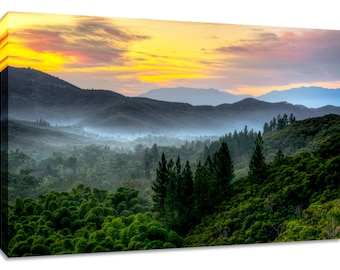 Mountain sunrise wall art canvas photography print. Tropical landscape picture colorful horizontal. Wide framed nature decor scenery lush.