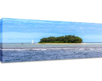 Island wall art panorama. Tropical canvas print. Wide ocean bedroom decor. Pacific picture blue panoramic. Horizontal long framed photos big
