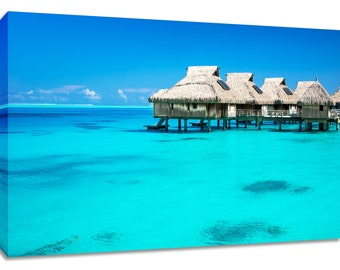 Bedroom wall art. Turquoise decor relaxing. Bora Bora canvas tropical paradise. Water bungalow framed. Tahiti photography print teal ocean.