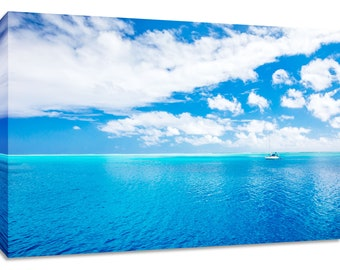 Blue ocean wall art. Tropical water framed picture. Scenic seascape photography print. Colorful bedroom horizontal decor. Calm peaceful art.