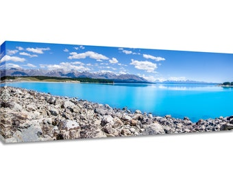 New Zealand Panorama Lake Pukaki canvas wall art. Teal water mountain landscape picture framed. Photography print wide bedroom art over bed.
