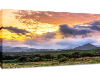 Tropical photography print canvas wall art. Mountain sunrise picture framed. Nature landscape home decor. Scenic horizontal wide bedroom art