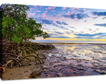 Mangrove sunset seascape canvas wall art. Ocean print framed. Colorful living room decor. Landscape photograph nature scenery picture calm.