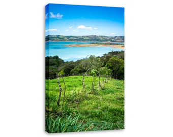 Vertical nature art bedroom green canvas. Costa Rica print Lake Arenal framed. Stretched canvas tall wall picture. Calming bedroom decor.