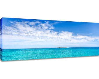 Panorama wall art turquoise tropical water. Ocean canvas decor wide. Framed teal seascape blue sky clouds. Long art for bedroom calm picture