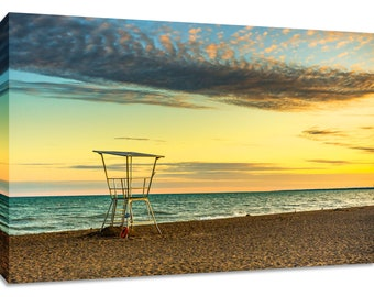 Lake Huron wall art. Grand Bend Beach canvas sunrise picture. Framed lake print colorful. Great lake photography print wide. Bedroom calming